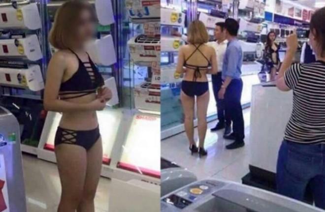 Nhân viên mặc bikini bán hàng tại cửa hàng Trần Anh - hình ảnh rầm rộ trên Internet thời gian gần đây