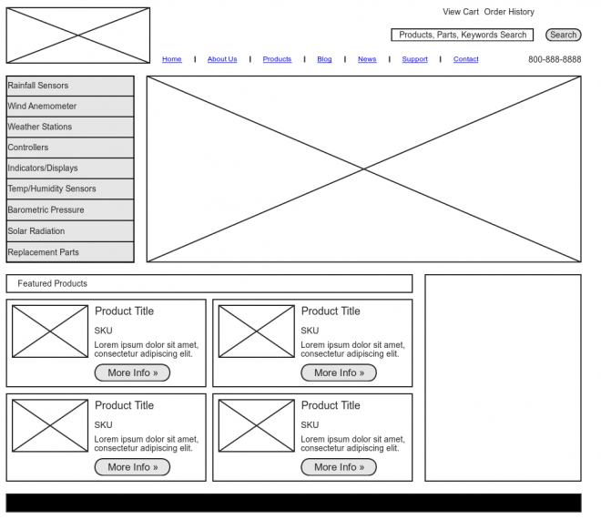 Một ví dụ về wireframe của website